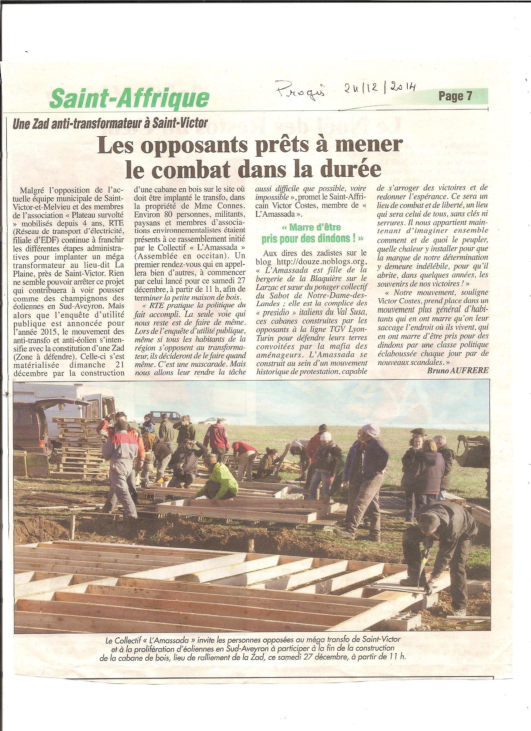 Le Progès Saint-Affricain 24 décembre 2014